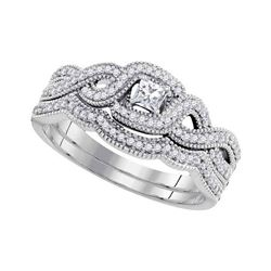 0.33 CTW Princess Diamond Woven Crossover Bridal Ring 10KT White Gold - REF-49K5W