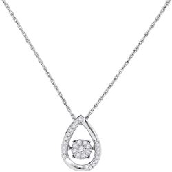 0.15 CTW Diamond Teardrop Moving Twinkle Cluster Pendant 10KT White Gold - REF-18M2H