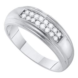 0.25 CTW Diamond 2-row Mens Wedding Ring 10KT White Gold - REF-37N5F