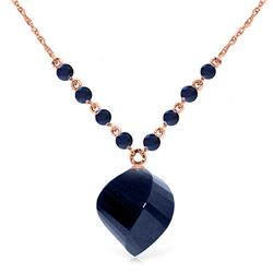 Genuine 16.25 ctw Sapphire Necklace Jewelry 14KT Rose Gold - REF-46Z2N