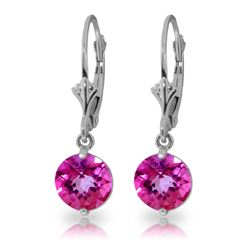 Genuine 3.1 ctw Pink Topaz Earrings Jewelry 14KT White Gold - REF-34F3Z