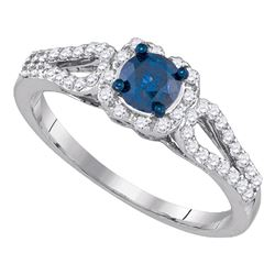 0.78 CTW Blue Color Diamond Solitaire Bridal Engagement Ring 10KT White Gold - REF-49W5K