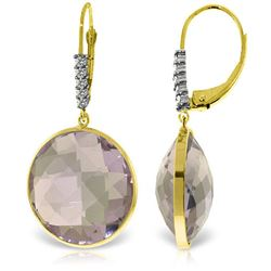 Genuine 36.15 ctw Amethyst & Diamond Earrings Jewelry 14KT Yellow Gold - REF-95T5A