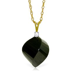 Genuine 15.55 ctw Black Spinel & Diamond Necklace Jewelry 14KT Yellow Gold - REF-25Z4N