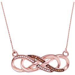 0.12 CTW Cognac-brown Color Diamond Infinity Pendant 10KT Rose Gold - REF-20K9W