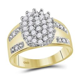 0.50 CTW Prong-set Diamond Oval Cluster Ring 10KT Yellow Gold - REF-33N8F