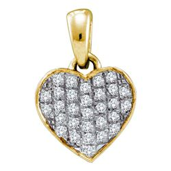 0.10 CTW Diamond Heart Love Pendant 10KT Yellow Gold - REF-8N2F