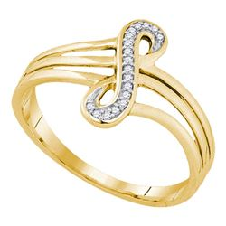 0.04 CTW Diamond Infinity Strand Ring 10KT Yellow Gold - REF-13F4N