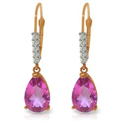 Genuine 3.15 ctw Pink Topaz & Diamond Earrings Jewelry 14KT Rose Gold - REF-44Z3N