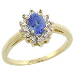 Natural 0.67 ctw Tanzanite & Diamond Engagement Ring 10K Yellow Gold - REF-40K5R