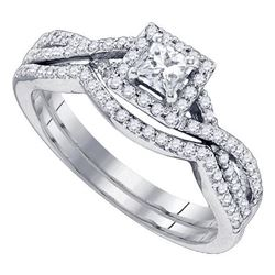 0.63 CTW Princess Diamond Bridal Engagement Ring 14KT White Gold - REF-97M4H