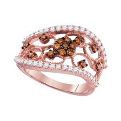 0.85 CTW Cognac-brown Color Diamond Filigree Ring 10KT Rose Gold - REF-59M9H