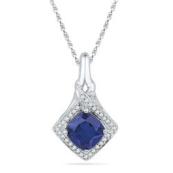1.6 CTW Created Blue Sapphire Solitaire Pendant 10KT White Gold - REF-14F9N