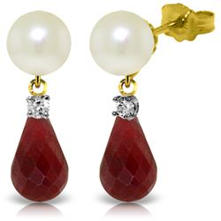 Genuine 8.7 ctw Pearl, Ruby & Diamond Earrings Jewelry 14KT Yellow Gold - REF-27A6K