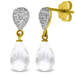 Genuine 4.53 ctw White Topaz & Diamond Earrings Jewelry 14KT Yellow Gold - REF-25P6H