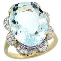 Natural 13.83 ctw Aquamarine & Diamond Engagement Ring 14K Yellow Gold - REF-284M9H