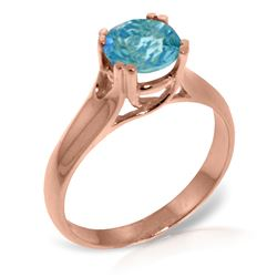 Genuine 1.10 ctw Blue Topaz Ring Jewelry 14KT Rose Gold - REF-57F3Z