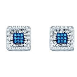 0.50 CTW Blue Color Diamond Square Stud Earrings 10KT White Gold - REF-43X4Y