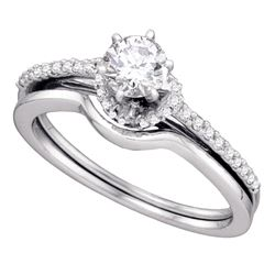 0.50 CTW Diamond Bridal Wedding Engagement Ring 14KT White Gold - REF-89X9Y