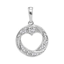 0.08 CTW Diamond Circle Heart Cutout Pendant 10KT White Gold - REF-11K2W