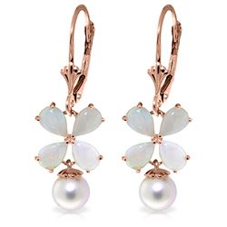 Genuine 6 ctw Opal & Pearl Earrings Jewelry 14KT Rose Gold - REF-50R7P