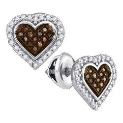 0.25 CTW Cognac-brown Color Diamond Heart Cluster Earrings 10KT White Gold - REF-18H2M
