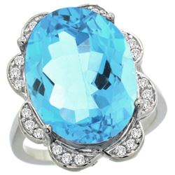 Natural 15.83 ctw blue-topaz & Diamond Engagement Ring 14K White Gold - REF-96M2H