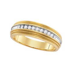 0.25 CTW Mens Diamond Two-tone Milgrain Anniversary Ring 10KT Yellow Gold - REF-30Y2X