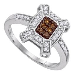 0.20 CTW Cognac-brown Color Diamond Square Ring 10KT White Gold - REF-18X2Y