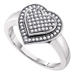 0.25 CTW Diamond Heart Love Cluster Ring 10KT White Gold - REF-28W4K