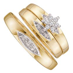 0.07 CTW His & Hers Diamond Cluster Matching Bridal Ring 10KT Yellow Gold - REF-20M9H