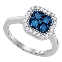 0.75 CTW Blue Color Diamond Square Cluster Ring 10KT White Gold - REF-44F9N