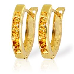 Genuine 0.70 ctw Citrine Earrings Jewelry 14KT Yellow Gold - REF-23A2K