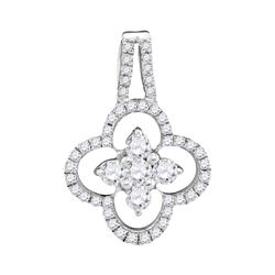 0.50 CTW Diamond Cluster Pendant 10KT White Gold - REF-31X4Y
