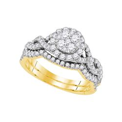0.88 CTW Diamond Cluster Bridal Engagement Ring 14KT Yellow Gold - REF-97K4W
