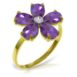 Genuine 2.22 ctw Amethyst & Diamond Ring Jewelry 14KT Yellow Gold - REF-35A9K