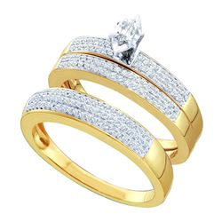 0.50 CTW His & Hers Marquise Diamond Solitaire Matching Bridal Ring 10KT Yellow Gold - REF-64F4N