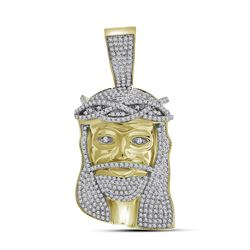 1.35 CTW Mens Diamond Jesus Head Pendant 10KT Yellow Gold - REF-89F9N
