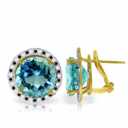 Genuine 16 ctw Blue Topaz, White & Black Diamond Earrings Jewelry 14KT Yellow Gold - REF-127H3X