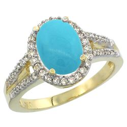 Natural 2.72 ctw turquoise & Diamond Engagement Ring 14K Yellow Gold - REF-61Y3X