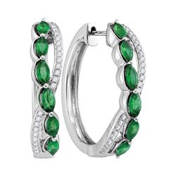 0.27 CTW Oval Natural Emerald Diamond Woven Hoop Earrings 14KT White Gold - REF-179N9F