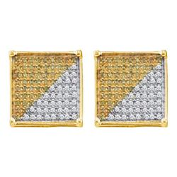 0.88 CTW Mens Yellow Color Diamond Square Cjluster Earrings 10KT Yellow Gold - REF-32X9Y