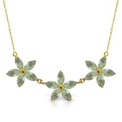 Genuine 4.2 ctw Green Amethyst Necklace Jewelry 14KT Yellow Gold - REF-60N7R