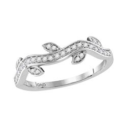 0.15 CTW Diamond Vine Floral Stackable Ring 10KT White Gold - REF-22W4K