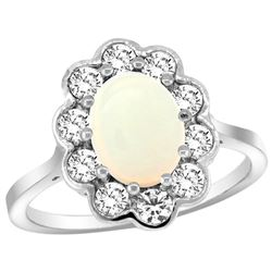 Natural 1.64 ctw Opal & Diamond Engagement Ring 14K White Gold - REF-81W3K