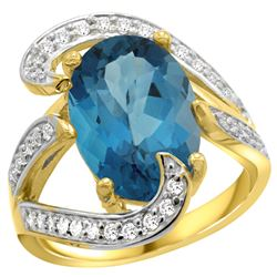 Natural 6.22 ctw london-blue-topaz & Diamond Engagement Ring 14K Yellow Gold - REF-137W2K