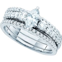 1 CTW Marquise Diamond 3-Piece Bridal Engagement Ring 14KT White Gold - REF-165W2K