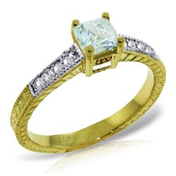 Genuine 0.65 ctw Aquamarine & Diamond Ring Jewelry 14KT Yellow Gold - REF-71V3W
