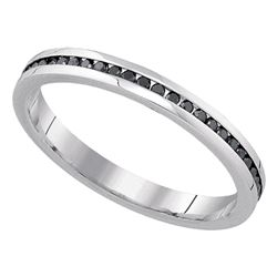 0.27 CTW Black Color Diamond Wedding Ring 10KT White Gold - REF-24W2K
