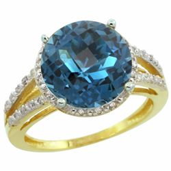 Natural 5.34 ctw London-blue-topaz & Diamond Engagement Ring 10K Yellow Gold - REF-37Y3X
